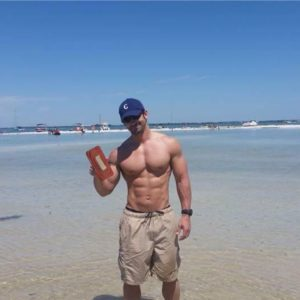 Jacob Schade - on the beach, going to eat a cold Janette's Custom Calorie Meal.